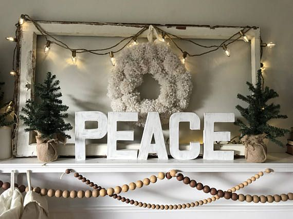 Paper Mache PEACE letters 825 inches Christmas Decor