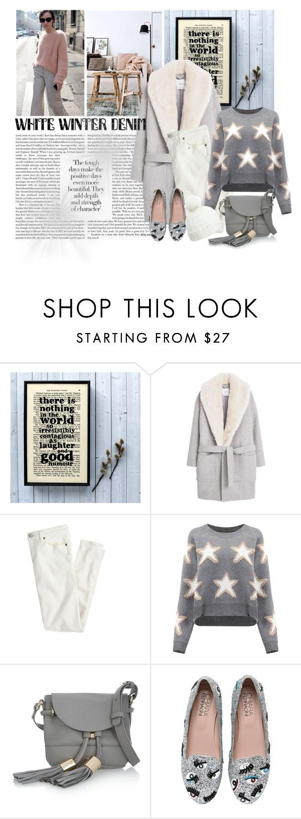 """""""White Winter Denim trend"""" by cool-cute ❤ liked on Polyvore featuring MANGO, J.Crew, See by Chloé, Chiara Ferragni, Miss Selfridge and whitewinterdenim"""