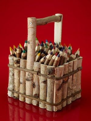 Birch Basket with 65 twig crayons