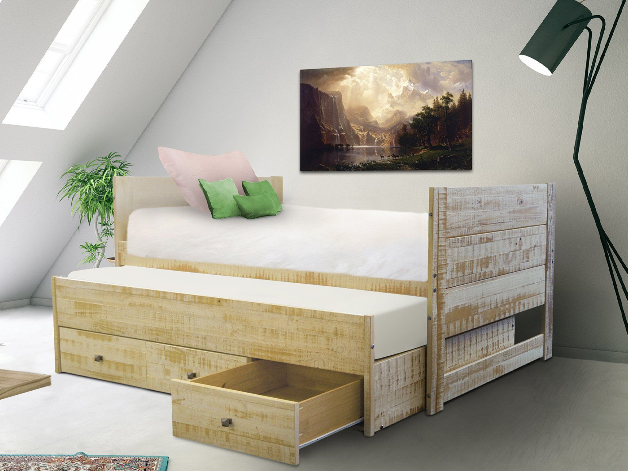 All In One Twin Bed With Trundle And 3 Drawers In Weathered Honey In 2021 Twin Trundle Bed Trundle Bed Twin Loft Bed Twin bed with trundle and storage