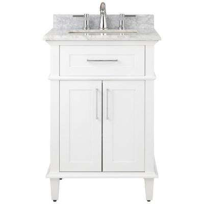 Sonoma 24 In W X 20 25 In D Vanity In White With Natural Marble