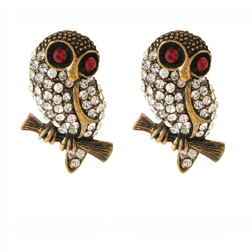 Sitting Owl Earring Antique Gold Br