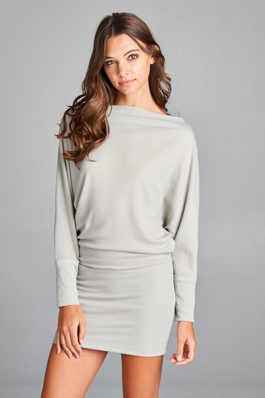 7126138fc8f2 Misha Off the Shoulder Tunic Dress - Light Grey PRE-ORDER