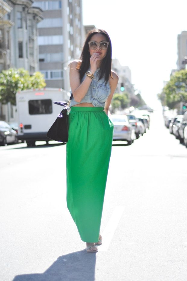 cropped tops and maxi skirts