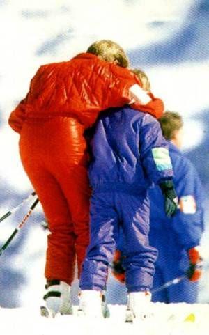 Diana , William  Harry à Lech _ Avril 1991