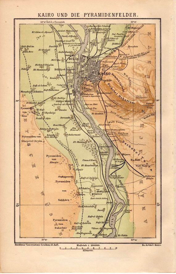 1885 Cairo Antique Map, Egypt, Pyramid, Egypt, Nile River ... on pyramid mexico city map, pyramid egypt map, pyramid giza map,