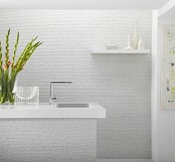 Stratum tiles Topps Tiles - you could do the wall opposite the bathroom door with an accent colour and then the other 2 walls (window and opposite window) with a white tiled wall to protect from water?