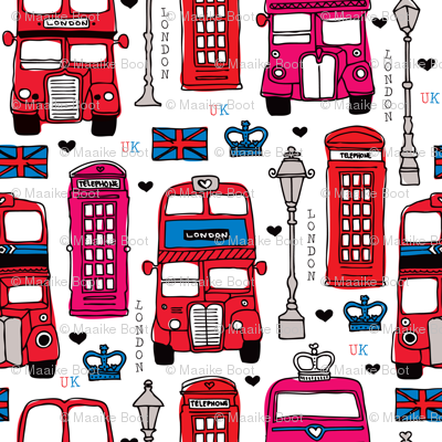 Fabric by the Yard London icon bus taxi and telephone booth