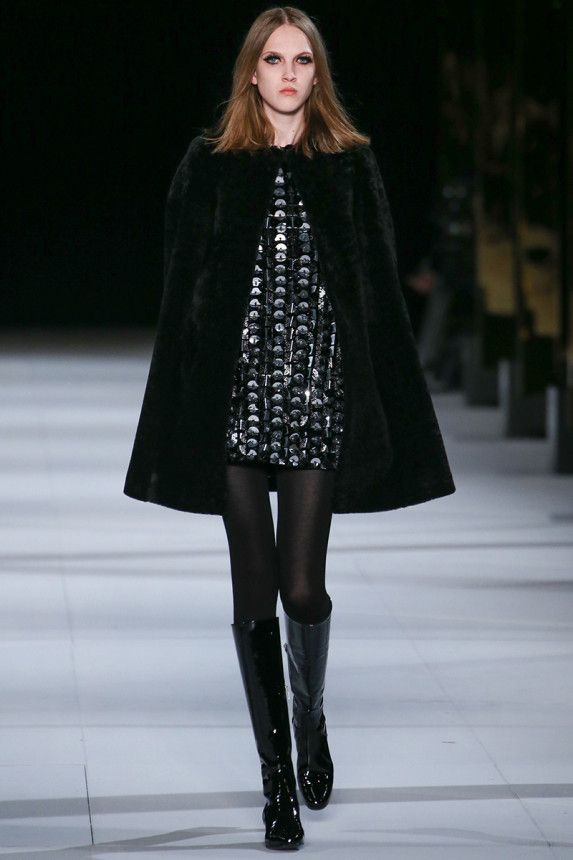 Saint Laurent Fall 2014 – Vogue. Love the combination of the short dress, tall boots and this lovely coat - very 60's!