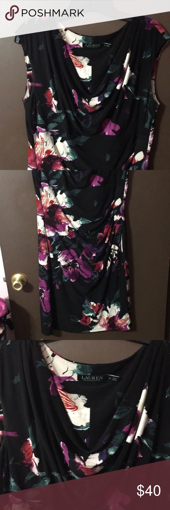 sale 🎉Ralph Lauren dress Beautiful Ralph Lauren dress. Drape neck with side rouching is very figure flattering. Black with floral print, below the knee, sleeveless, lined. Size 14 Ralph Lauren Dresses