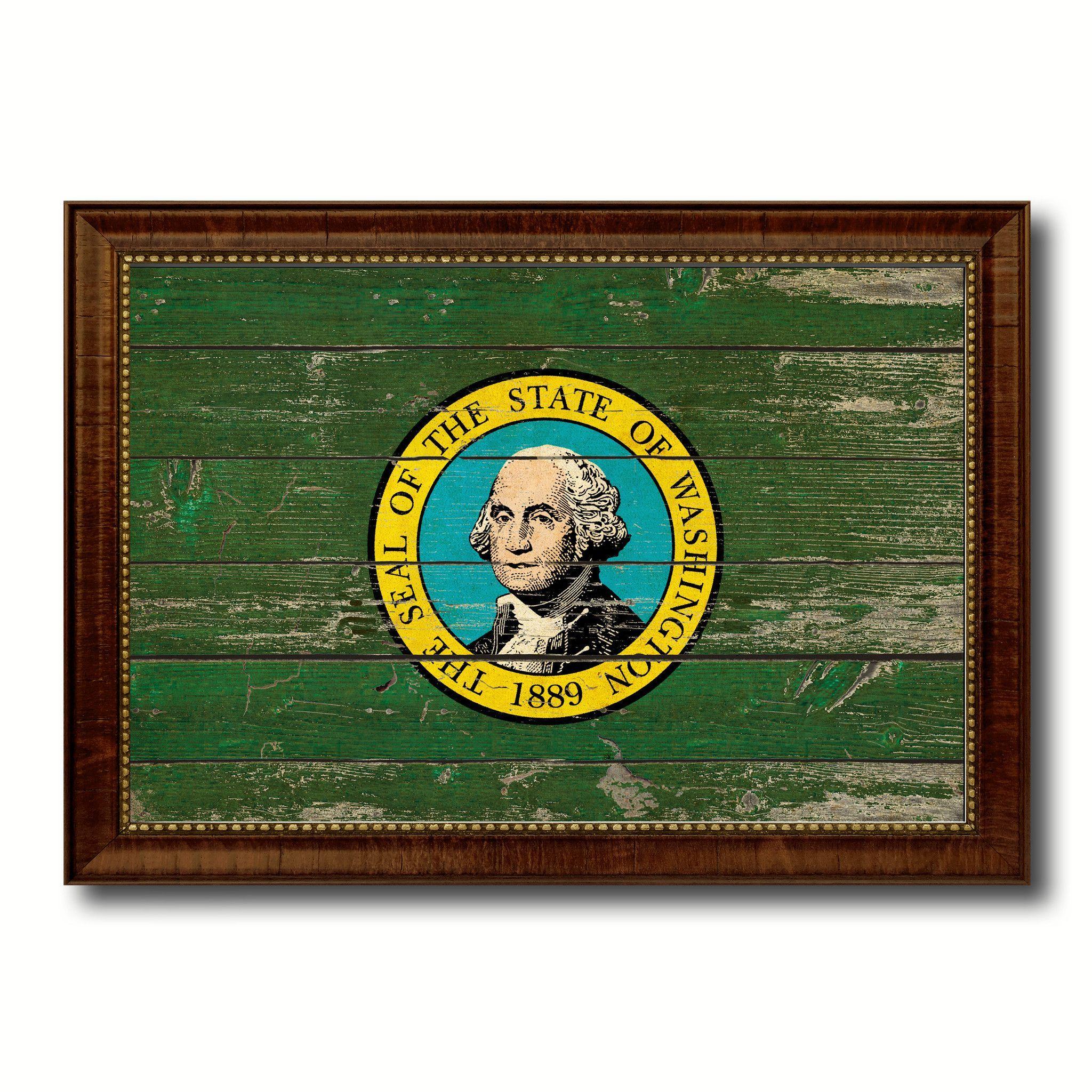 Washington Vintage Flag Canvas Print, Picture Frame Gift Ideas Home Décor Wall Art Decoration