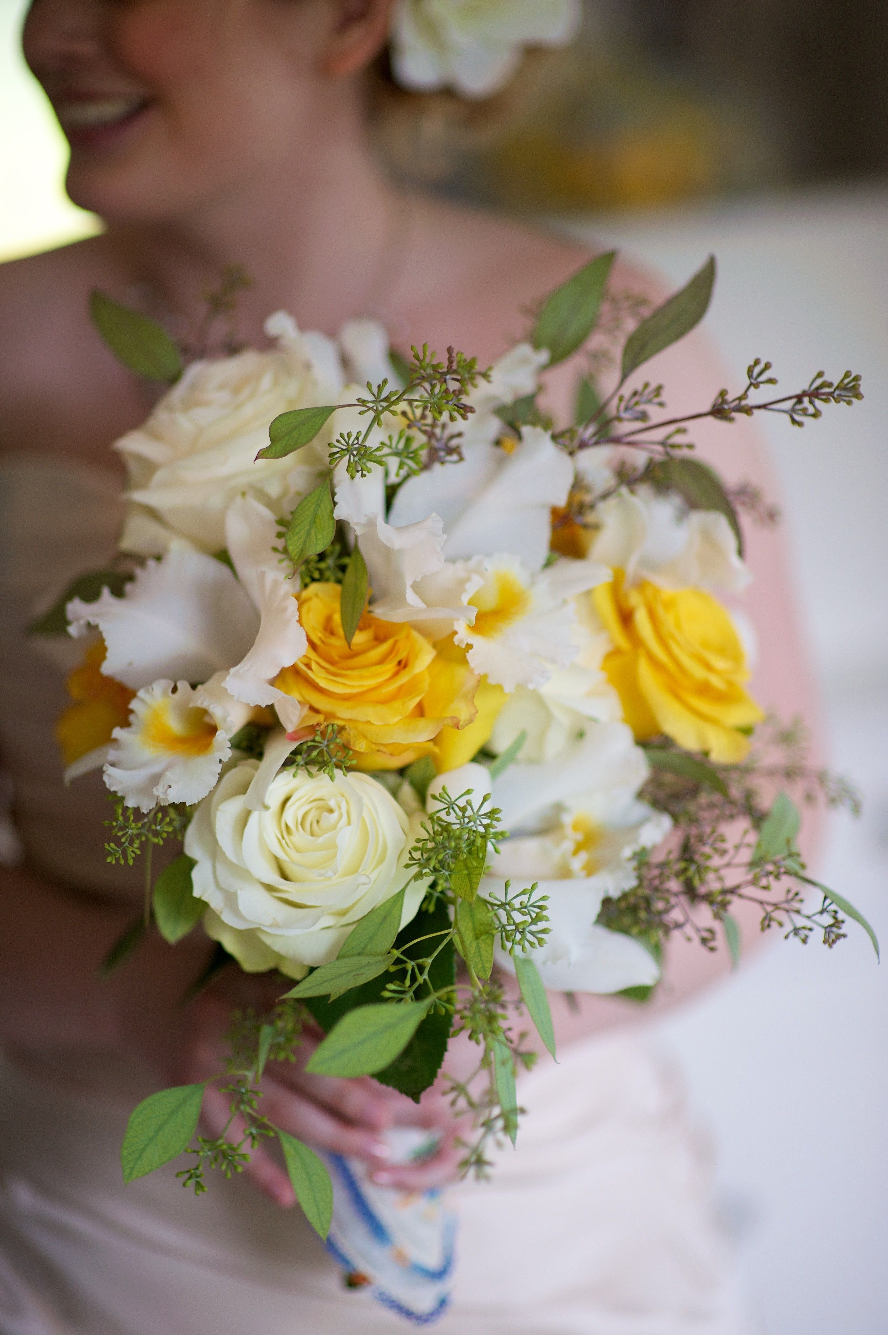 Cattleya Orchids And Yellow Roses Set Off This Happy Bridal Bouquet