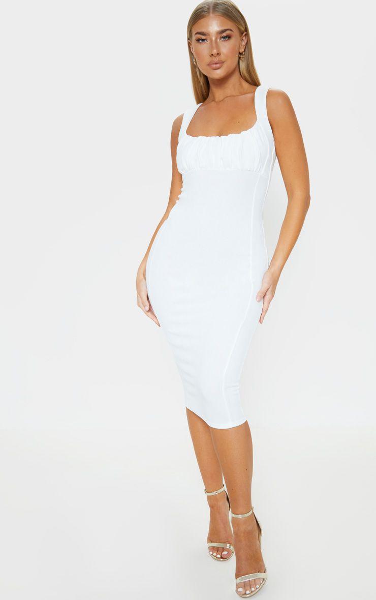 White Ruched Bust Detail Midi Dress Midi Dress Dresses Ruching [ 1180 x 740 Pixel ]