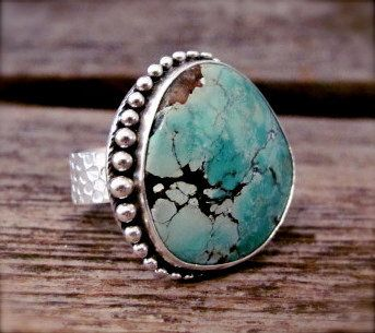 Edge Platform Ring in Sterling and Turquoise