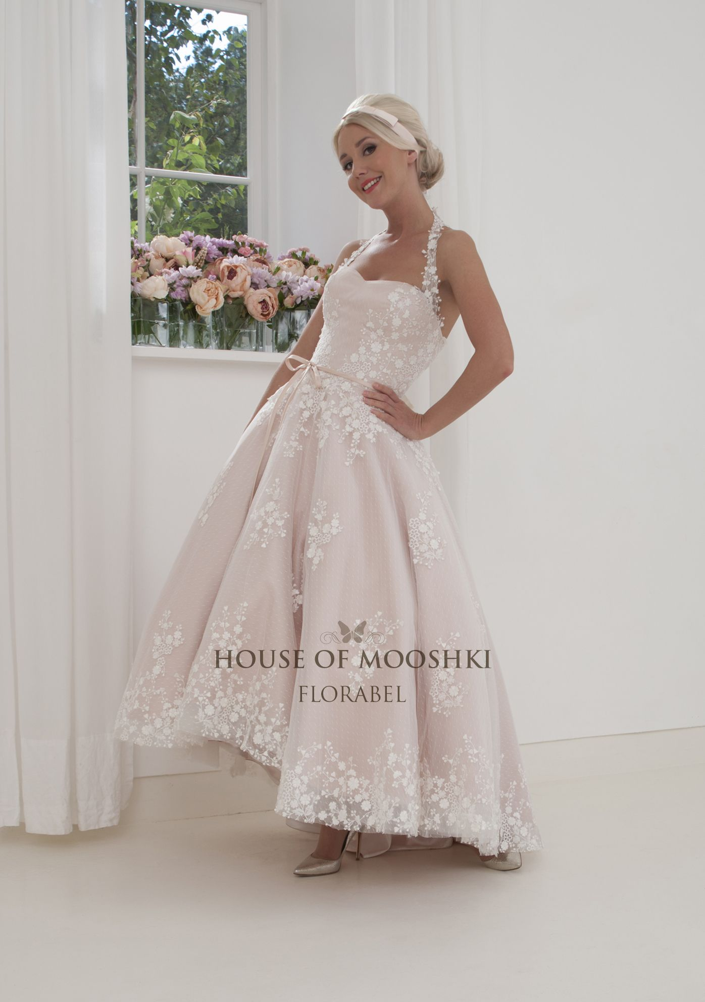 Beautiful blush highlow halter neck wedding dress with sweetheart