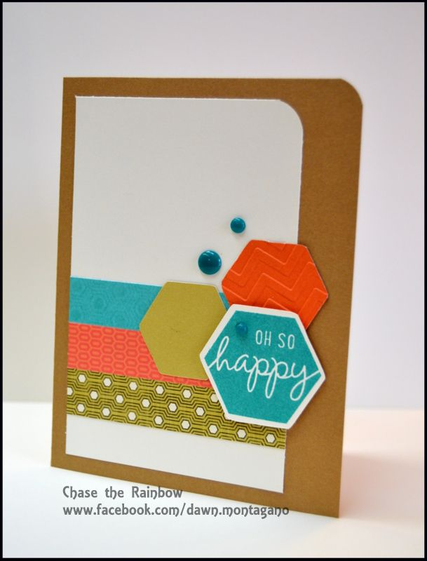 Close to My Heart Happy Hexagons stamp. Love this clean and simple design! #hexagons #embossing www.facebook.com/dawn.montagano