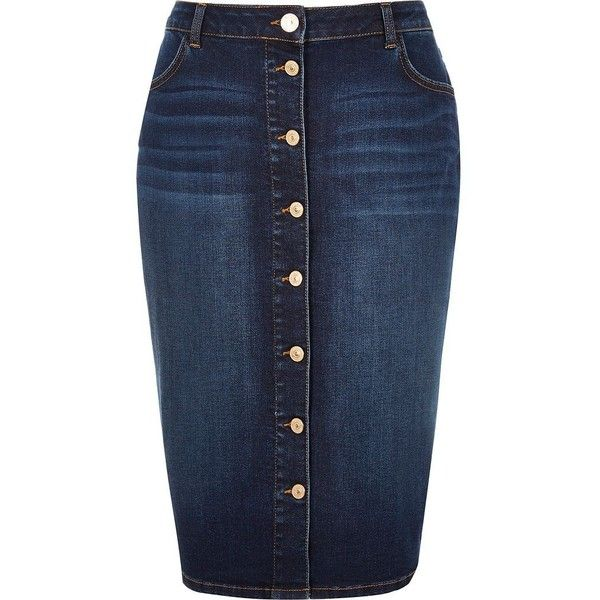 River Island RI Plus blue denim button-up pencil skirt ($70 ...