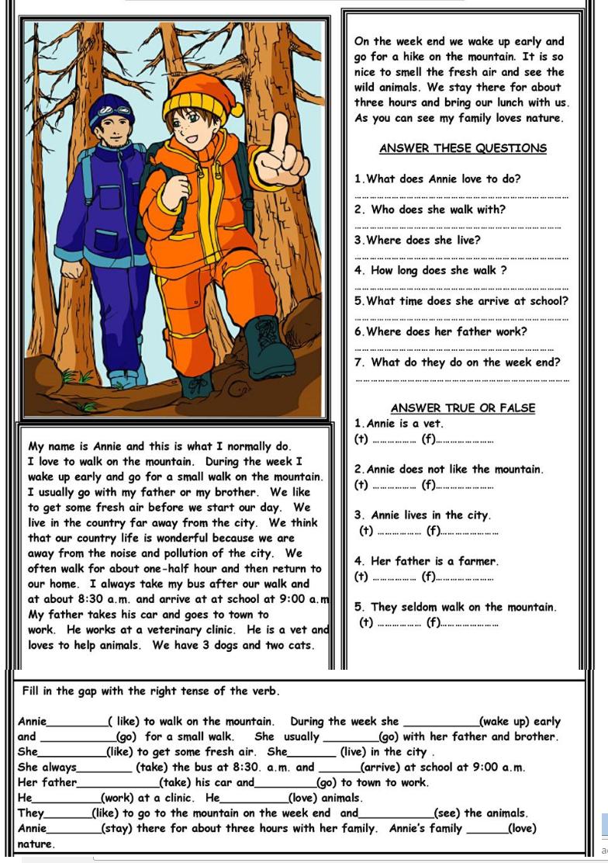 Completa Los Ejercicios De Esta Corta Lectura En Simple Present Lectura De Comprensión Lecturas Cortas En Ingles Ejercicios De Ingles