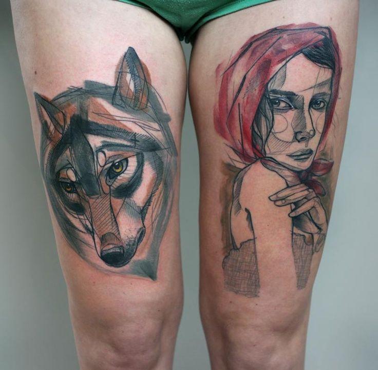 The Big Bad Wolf And Little Red Tattoo Peter Aurisch Sleeve Tattoos Geometric Tattoo Leg Sleeve Tattoo