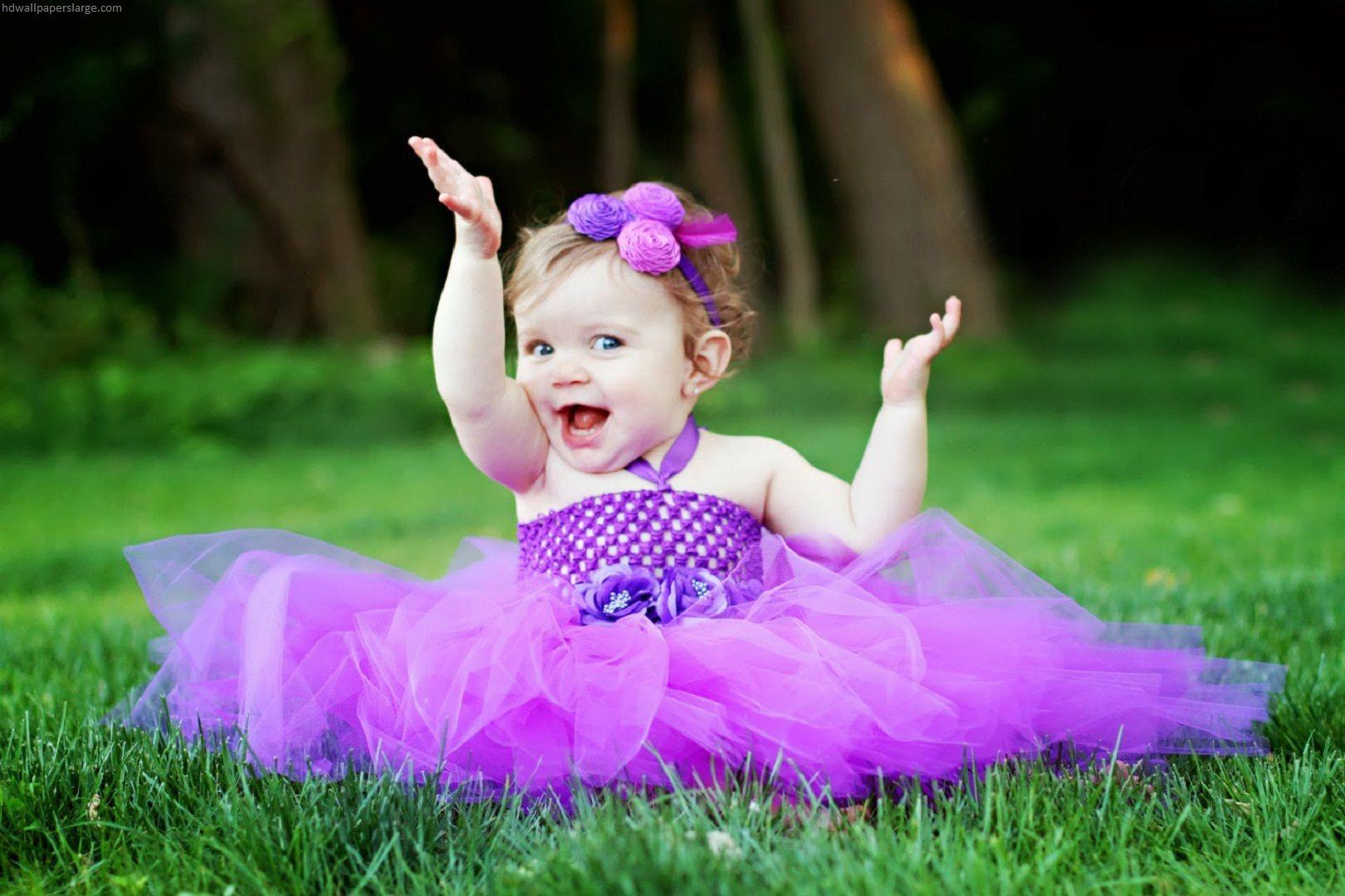 Cute girl in purple frock full HD images
