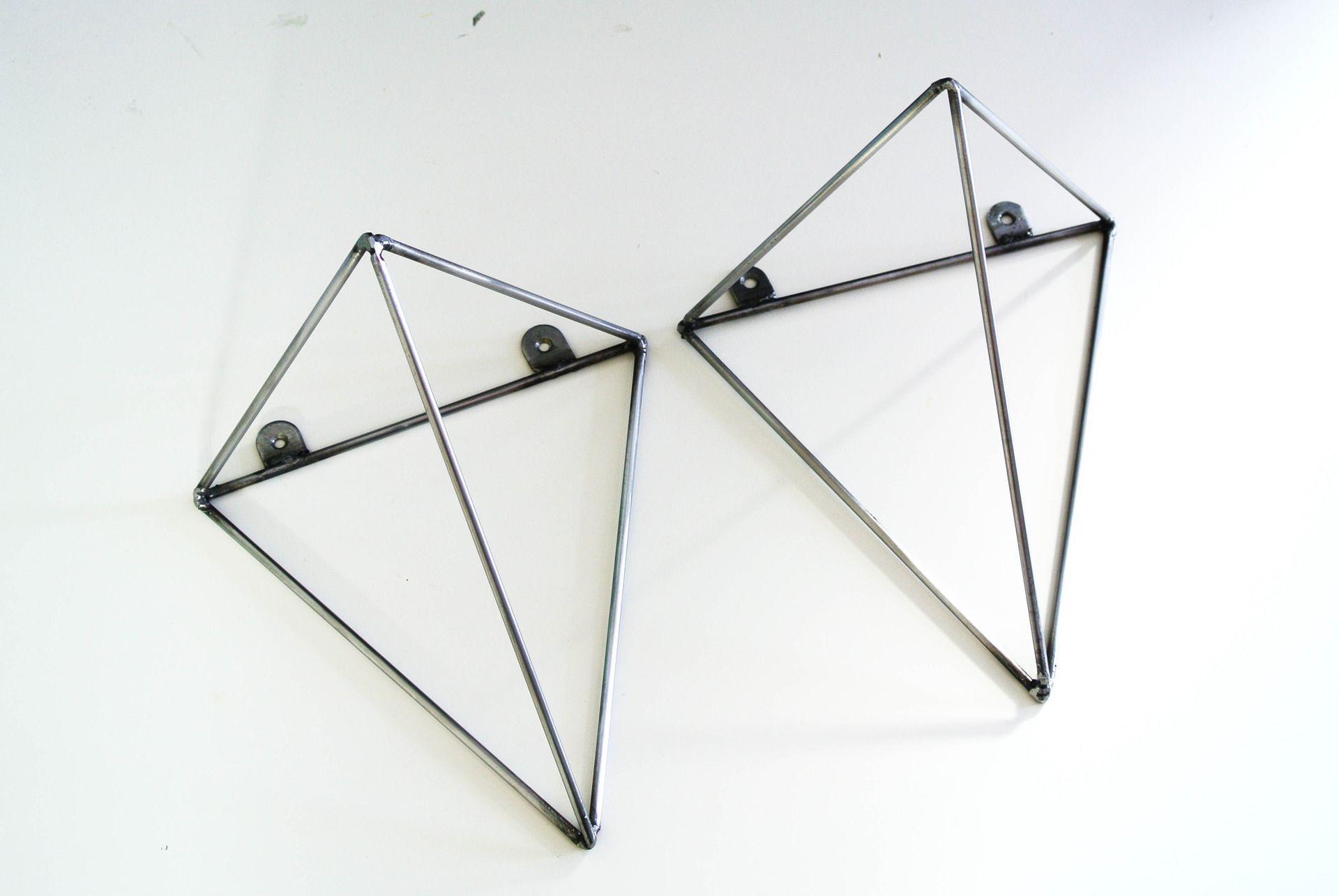 Paire de fixations g om trique bf 01 brut metal en for Muebles industriales metal baratos