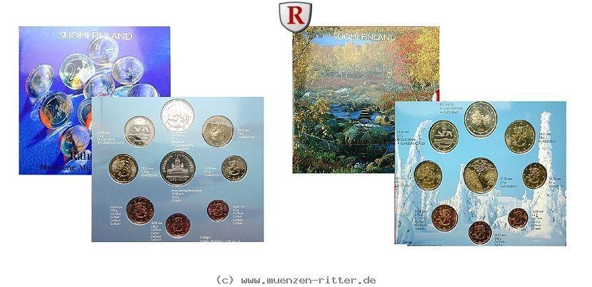 RITTER Finnland, 2 Euro Kursmünzensätze KMS 2002-2003, st #coins