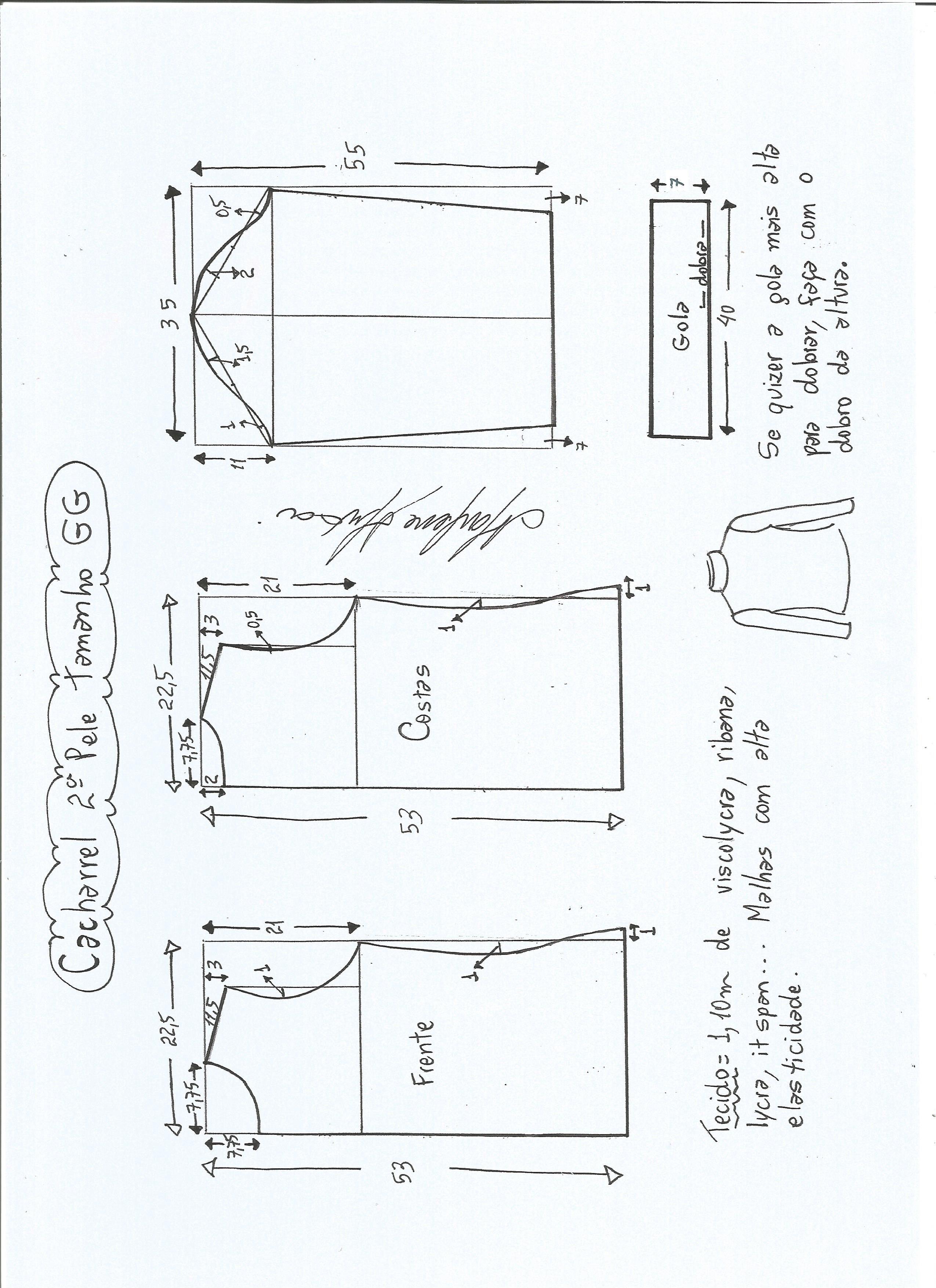 6c8566760 Esquema de modelagem de Blusa cacharrel segunda pele de malha tamanho GG.