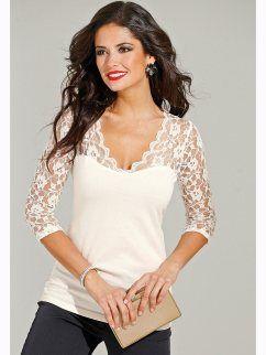 222b2eedd13bb Camiseta de vestir mujer manga 3 4 con encaje