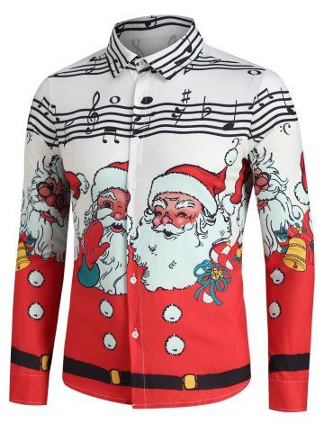 Christmas Santa Claus and Music Notes Print Button Up Festival Shirt #shirtsale