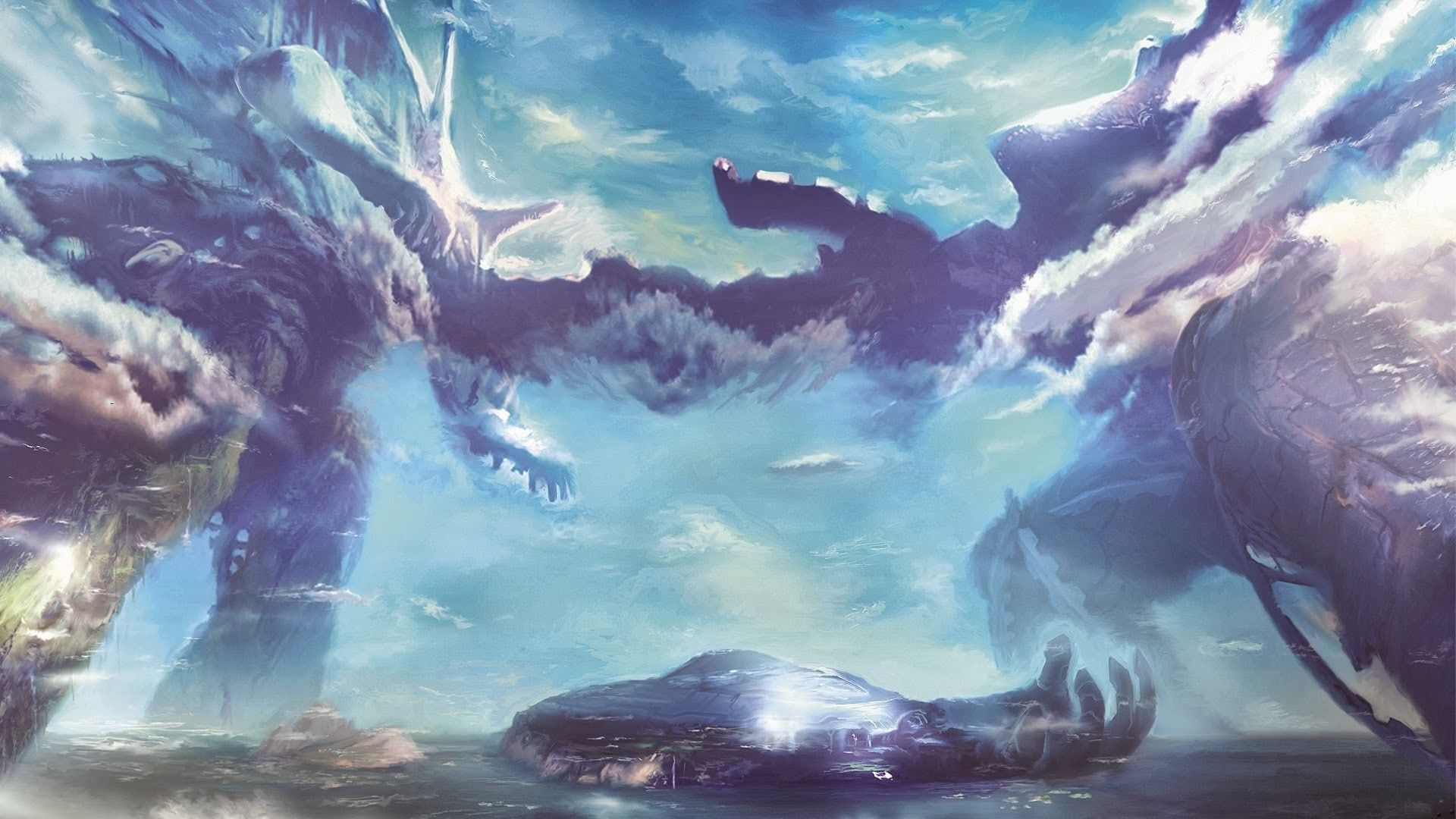 Xenoblade Chronicles Video Games Clouds Landscape 1080p Wallpaper Hdwallpaper Desktop Xenoblade Chronicles Xenoblade Chronicles Wii Concept Art
