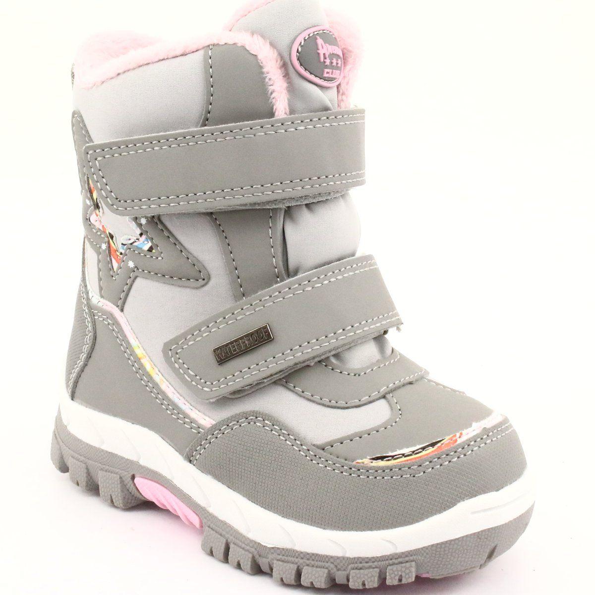 American Club Kozaki Z Membrana Rl37 Gwiazda Szare Rozowe Childrens Boots Boots Kid Shoes