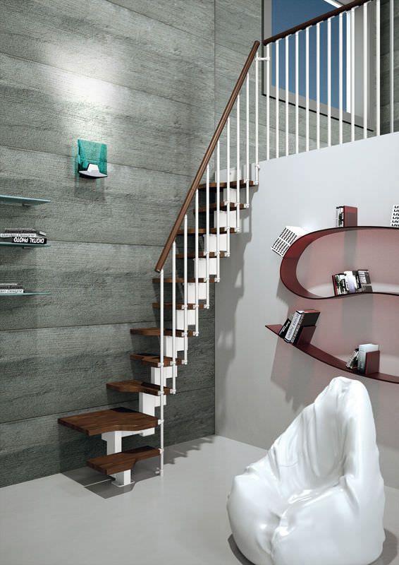 escalera en l pelda o de madera modular para