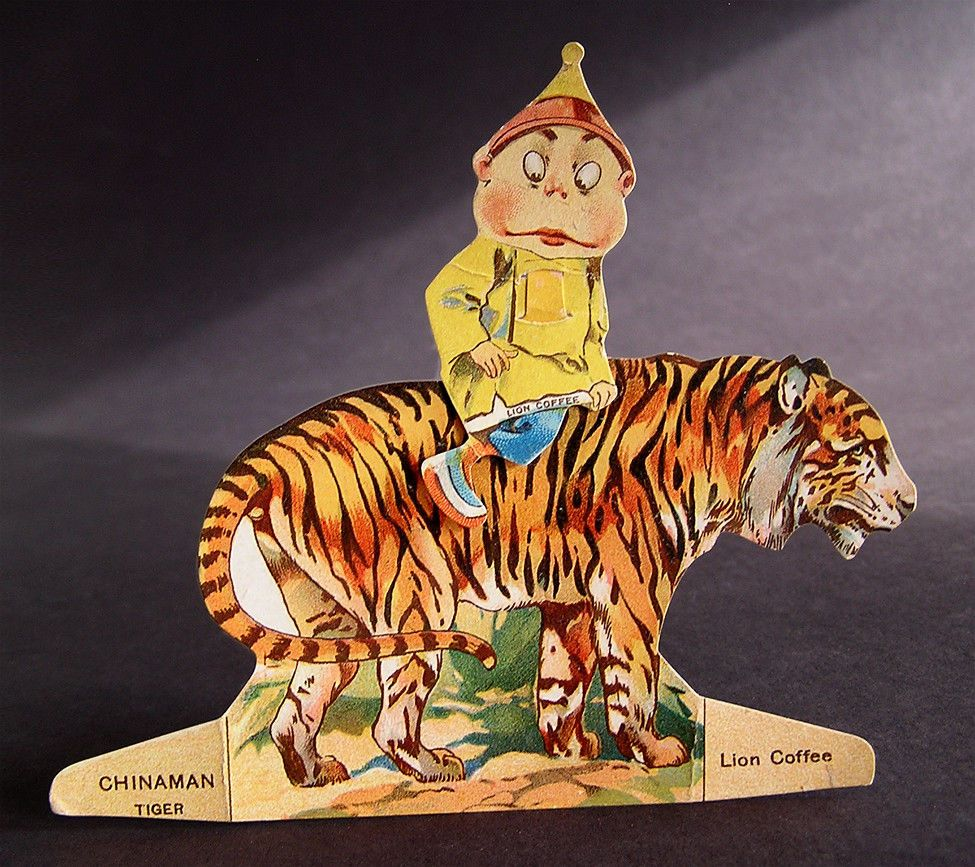 Rare Palmer Cox Brownie Paper Doll ~ CHINAMAN ~ TIGER ~ Lion Coffee ...