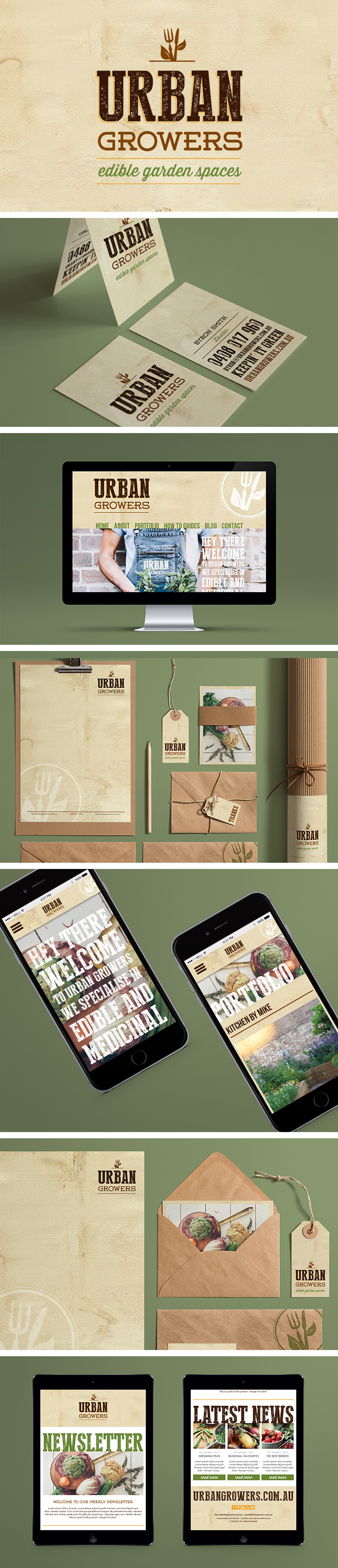 Urban Growers branding, stationary, website and mobile/ tablet website by Smack Bang Designs #Branding #Stationary #Website #Mobile #Tablet #GraphicDesign #SmackBangDesigns