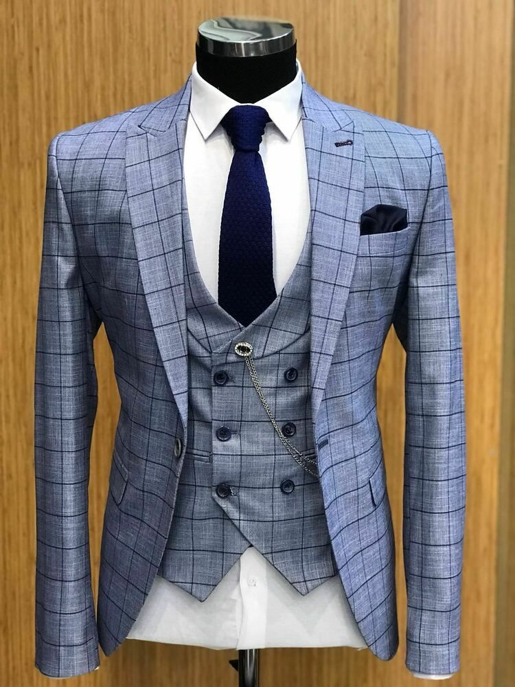 (Ad)eBay  Blue Plaid Suits Wedding Groom Tuxedos Slim Fit 3 Pieces Formal Party Suits 2019 is part of Party suits -