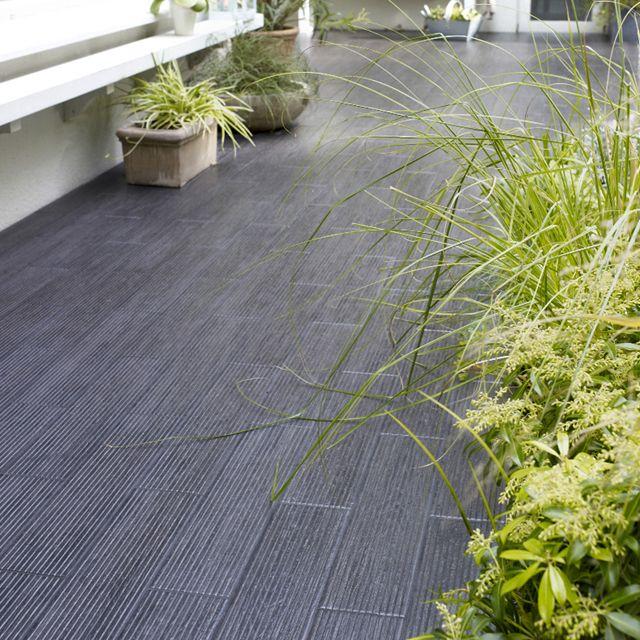 Carrelage terrasse noir Lam Grip 12,5 x 50 cm - CASTORAMA Jardin - photo terrasse carrelage gris