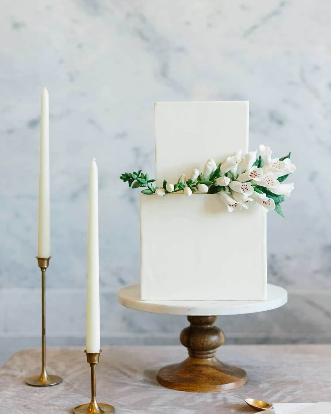 White square two tier wedding cake