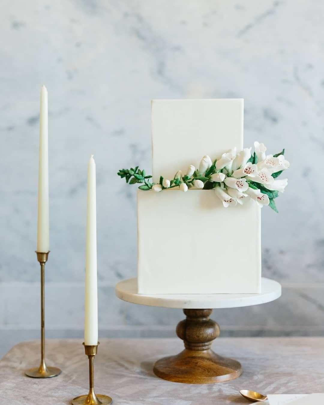 White square two tier wedding cake #weddingcake #cake
