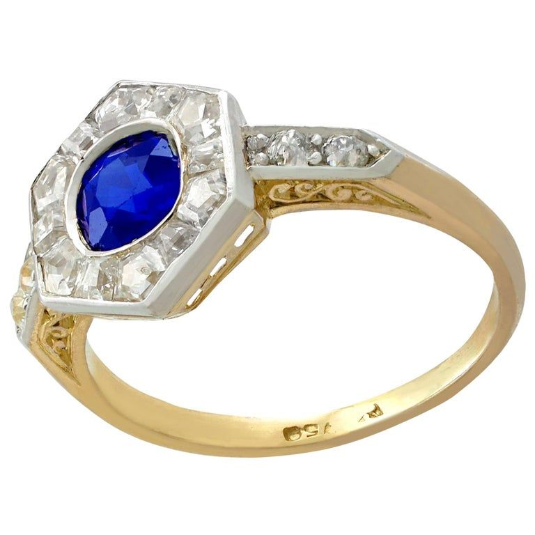 Antique French Sapphire And Diamond Yellow Gold Dress Ring From A Unique Collection Of Vintage Engag In 2020 Diamond Dress Ring Dress Rings Art Deco Engagement Ring