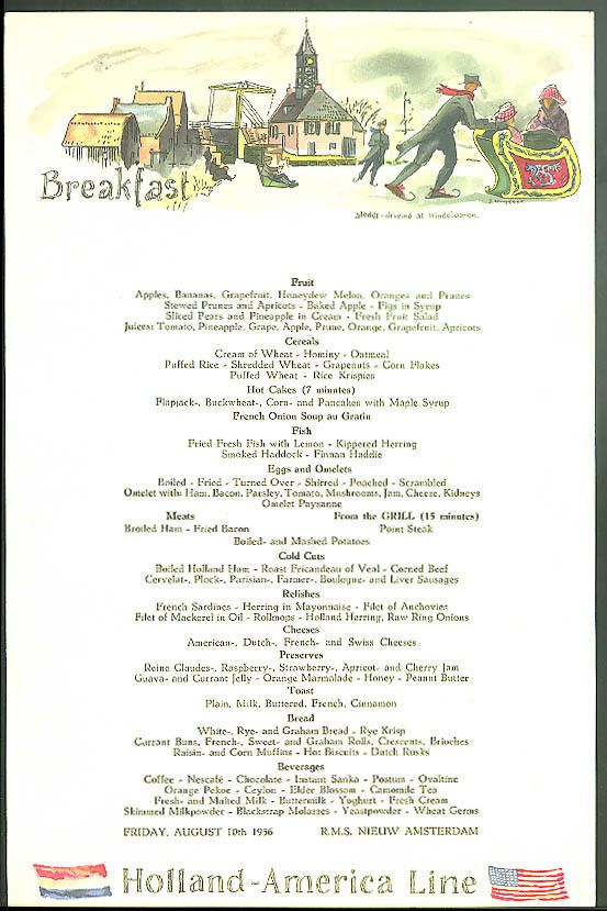 Holland america line s s nieuw amsterdam breakfast menu card 810 holland america line s s nieuw amsterdam breakfast menu card 810 1956 publicscrutiny Image collections