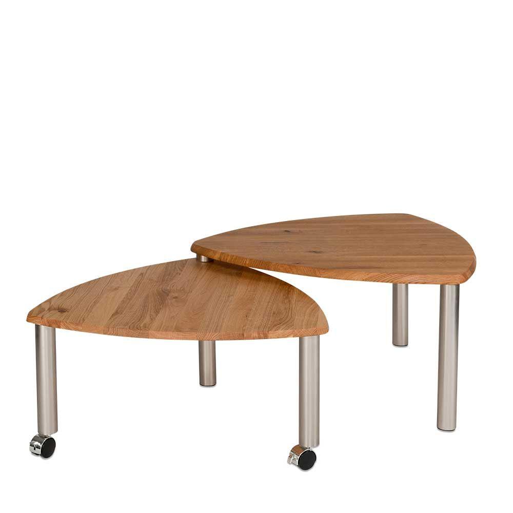 couchtisch set aus wildeiche massivholz mit rollen jetzt bestellen unter https moebel. Black Bedroom Furniture Sets. Home Design Ideas