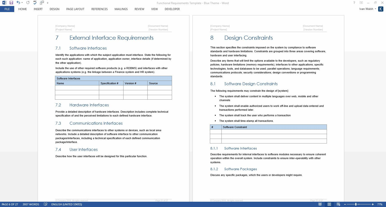 Software Requirements Document Template Best Functional