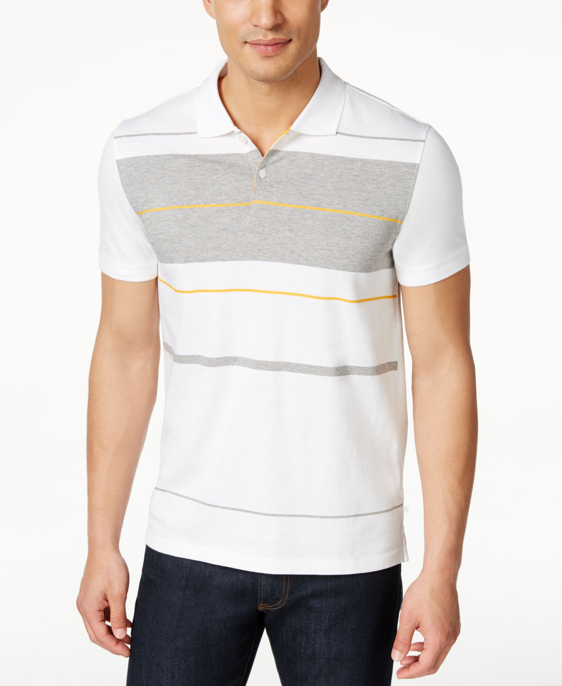 Calvin Klein Men's Engineered-Stripe Short-Sleeve Polo
