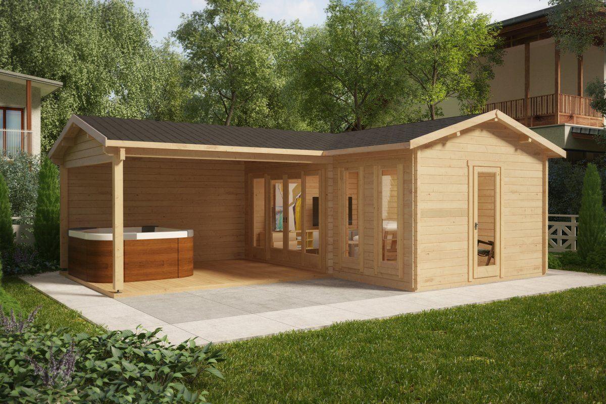 Corner Garden Room with Large Veranda Hansa B 18m2 / 44mm / 3 x 6 m – Summer House 24