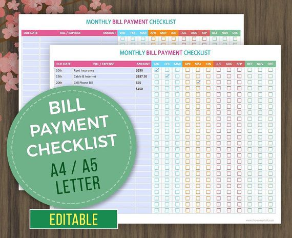 Monthly Bill Payment Checklist Organize Your Monthly Bills