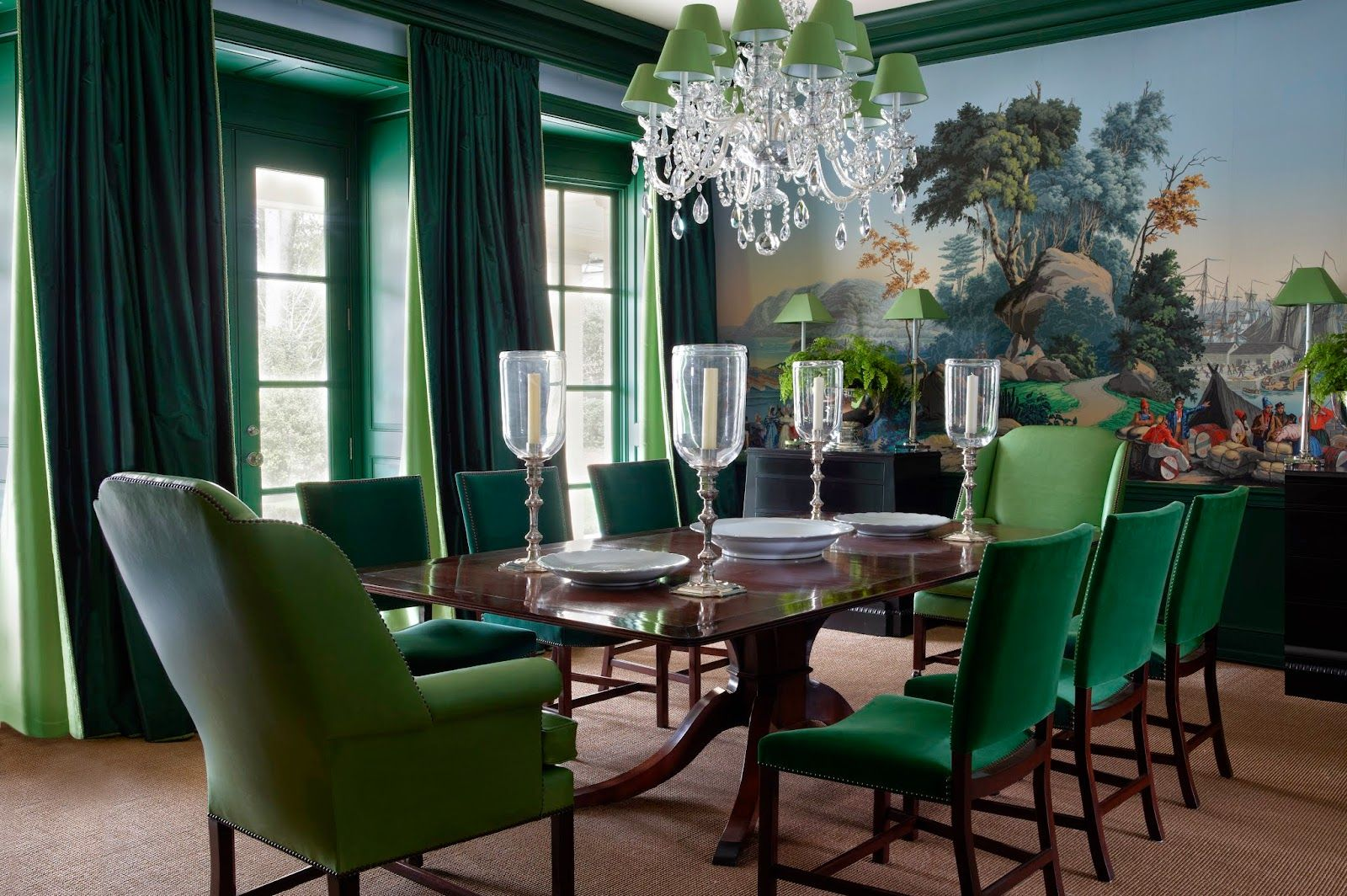 Beautiful Muraled Wall Tones Of Green Chandelier With