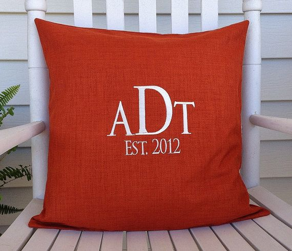 Monogrammed Outdoor Pillow Cover In Tangerine By DesignsByThem, $25.95