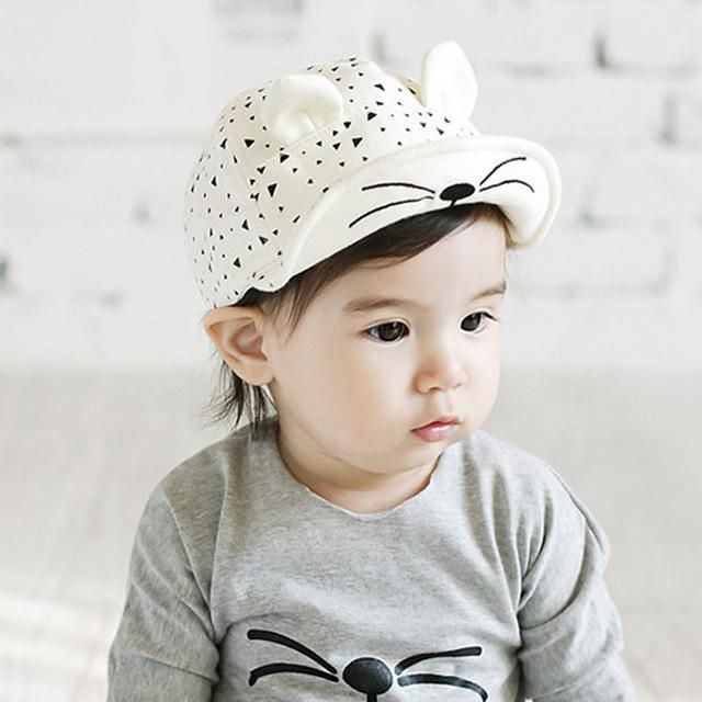 35f5ab0efae Baby Caps Hat with Cat Ears Hat Cartoon Kids Baby Baseball Cap Summer Sun  Hats Beard Stars Cotton Caps For Baby Boy Girls