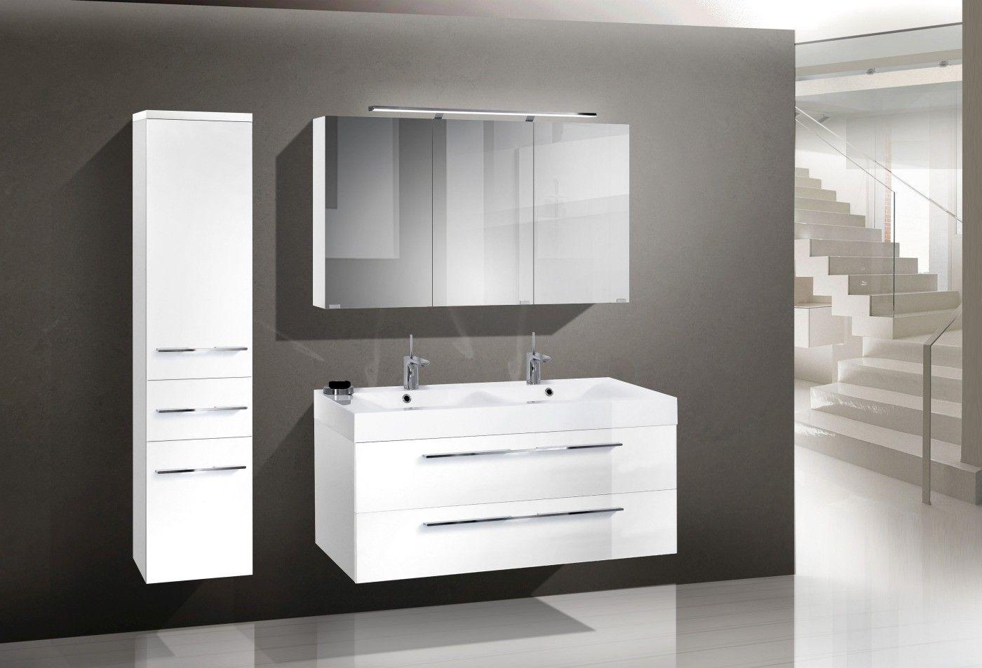 design badm bel set 120 cm doppelwaschtisch led aufbauleuchte aufbauleuchte und hochglanz lack. Black Bedroom Furniture Sets. Home Design Ideas