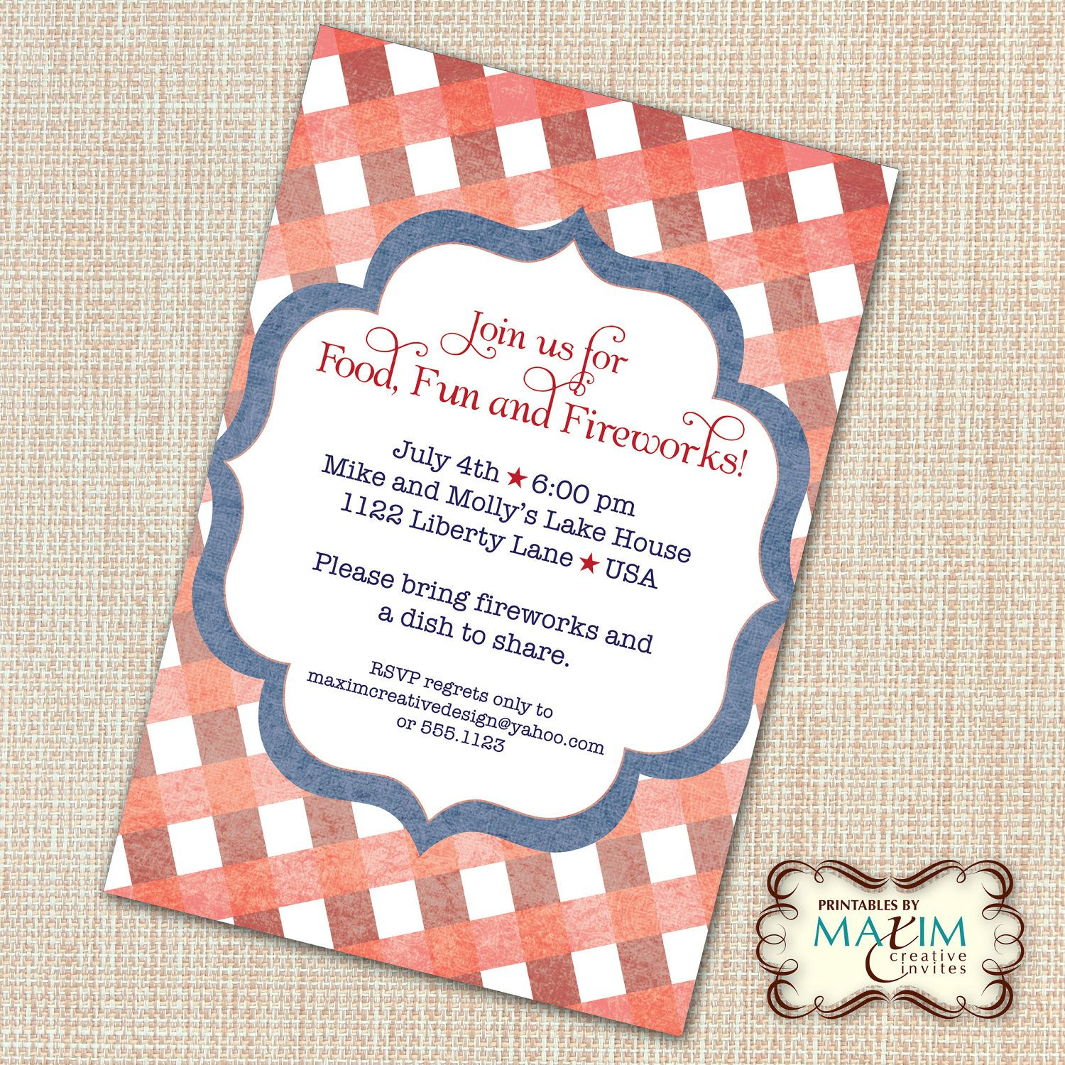 DIY Printable Invitation - 4th of July Invitation, Engagement ...